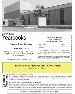 Early Bird 2019-2020 Yearbook Sales